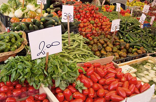 Vegetable market in Venice, Italy stock photo