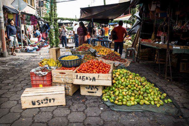 Vegetable market on the street in Santiago, Lago Atitlan, Guatemala stock photo