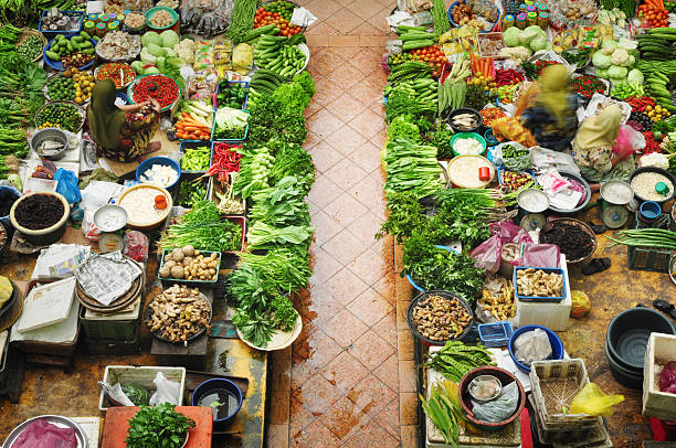 Vegetable market Vegetable market in Kota Bharu Malaysia asian market stock pictures, royalty-free photos & images