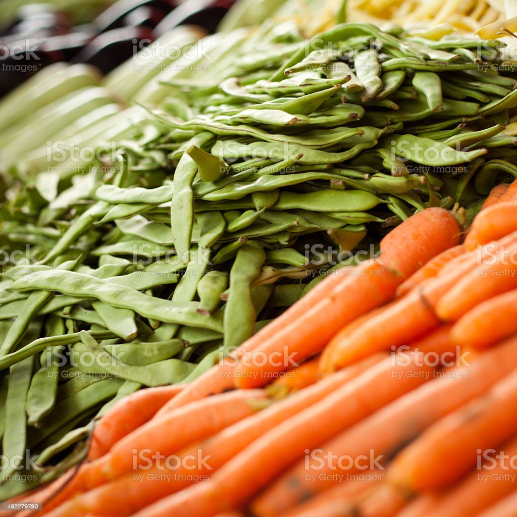 vegetable market romano bean carrots stock photo