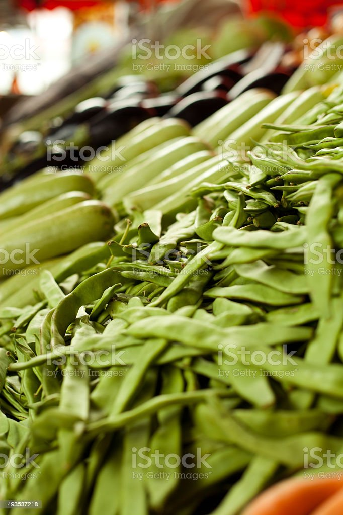 vegetable market romano bean stock photo