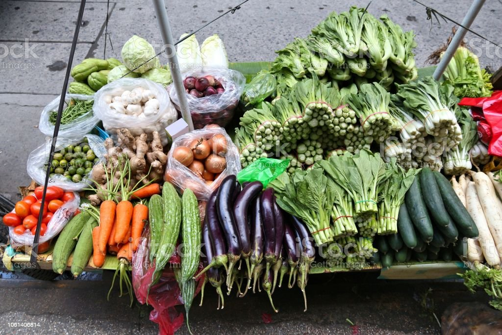 Vegetable market stand stock photo