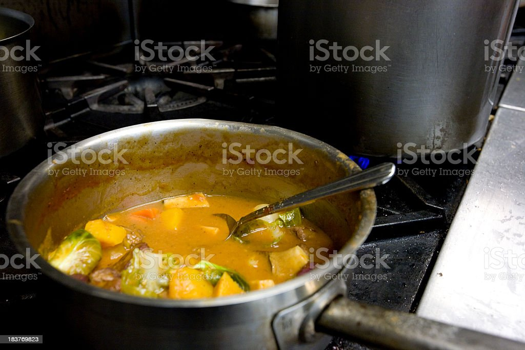 Vegetable Meat stew cooking stock photo