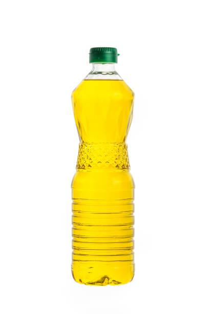 Vegetable oil bottle, isolated on white background stock photo