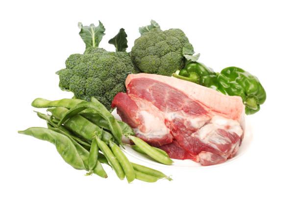 Vegetable on fresh pork and white background stock photo