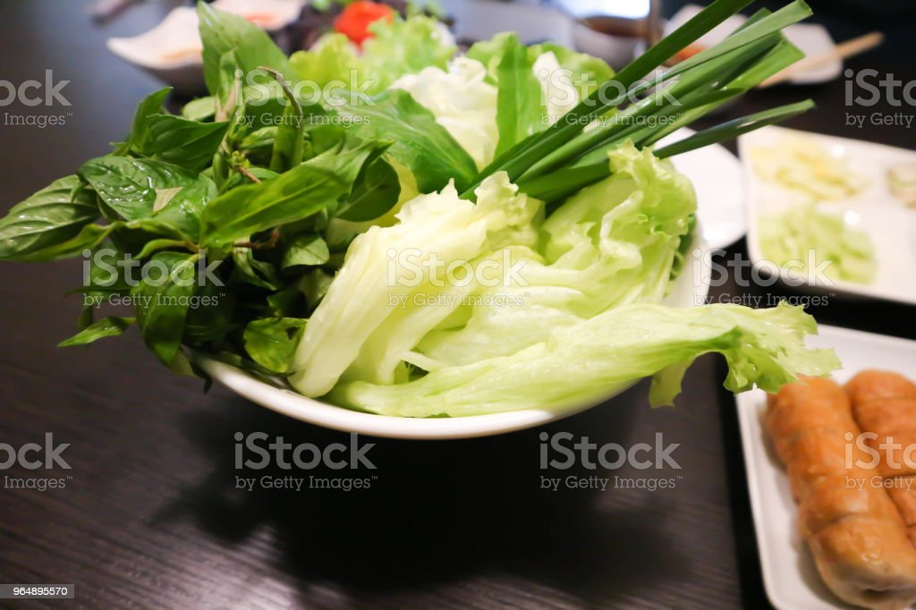 vegetable or nam-neaung or vietnamese sausage - Royalty-free Basil Stock Photo