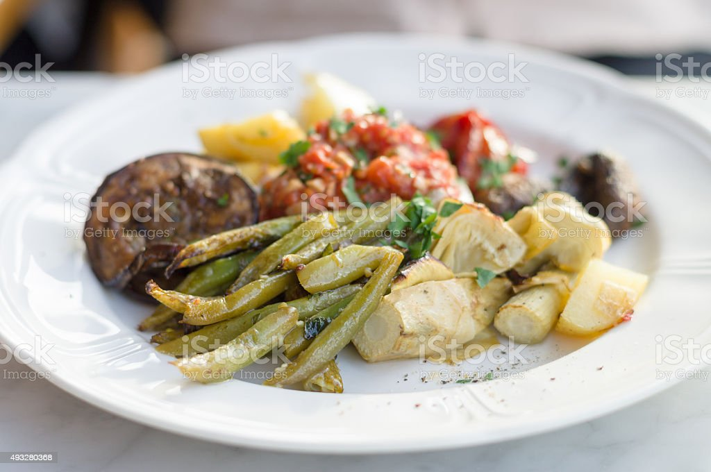 Vegetable plate of marinated green beans stock photo
