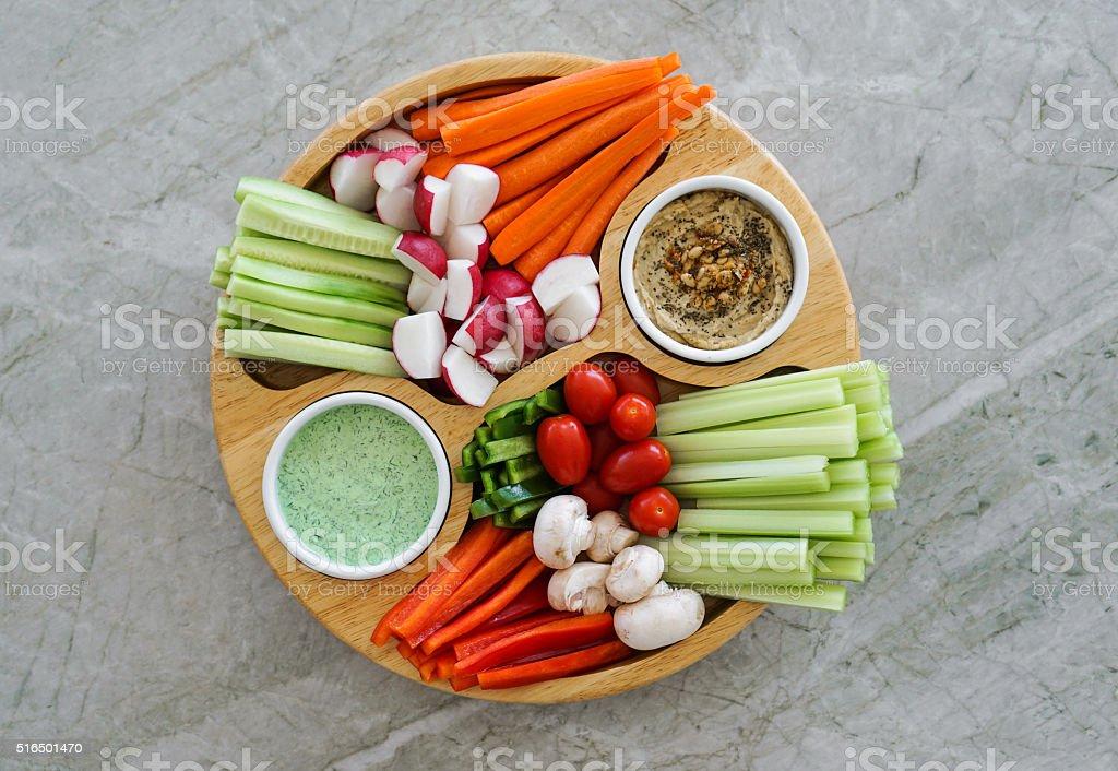 Vegetable platter. Crudites stock photo