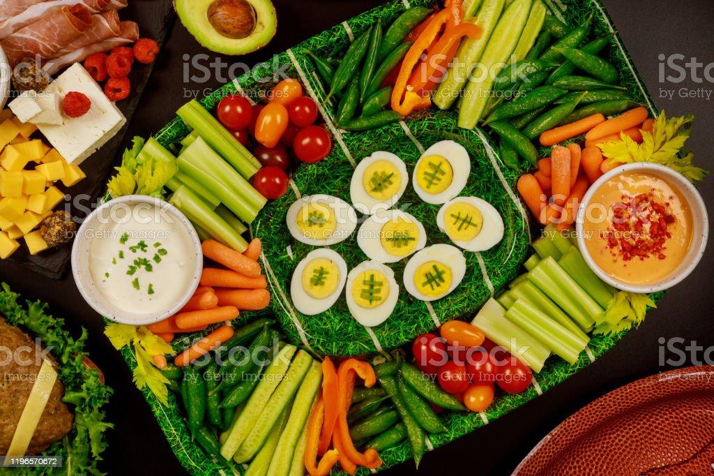 Fresh vegetable platter especially for Super Bowl game fan.