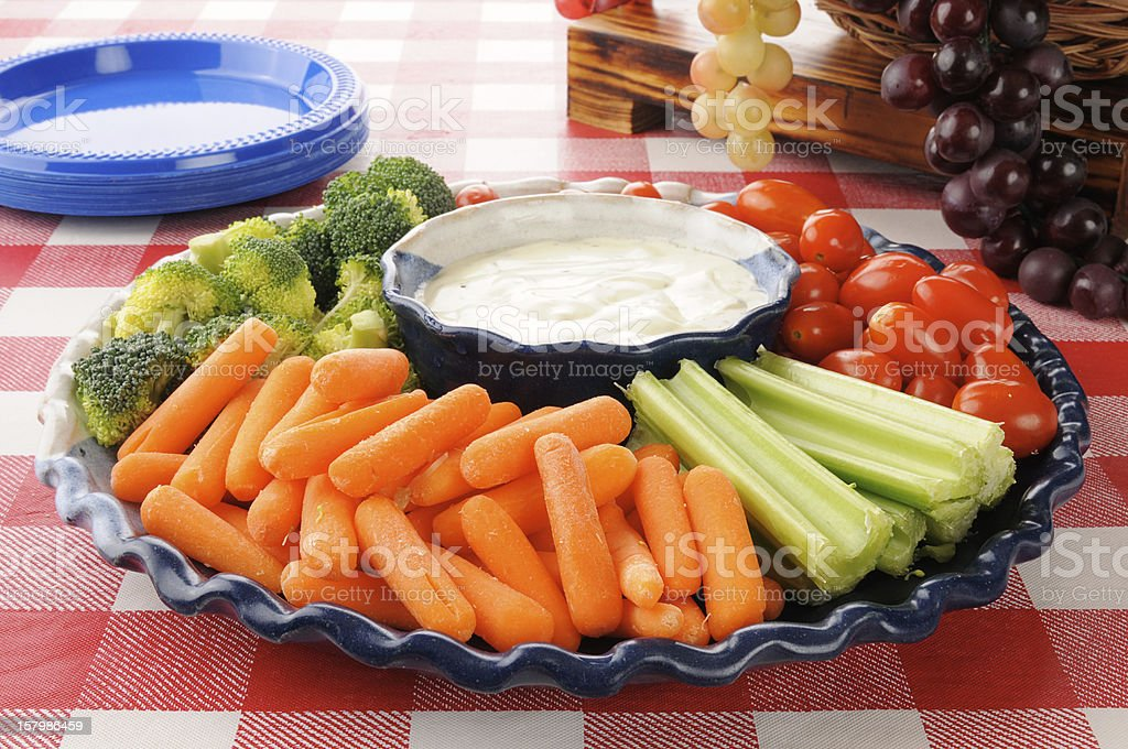 Vegetable platter with ranch dressing stock photo
