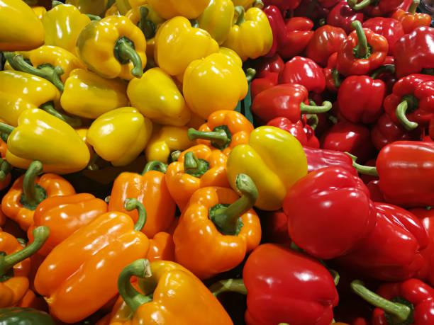Gemüse-roter Paprika gelber Paprika orange Paprika – Foto