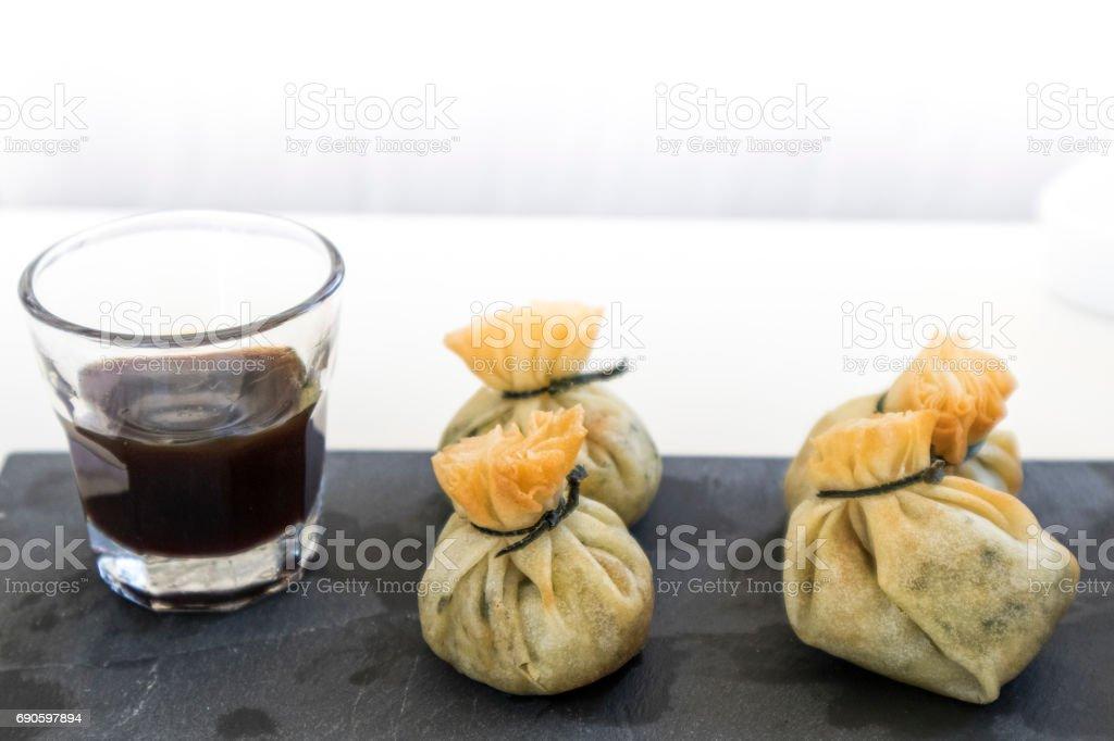 Vegetable sacks with soy, gormet food stock photo