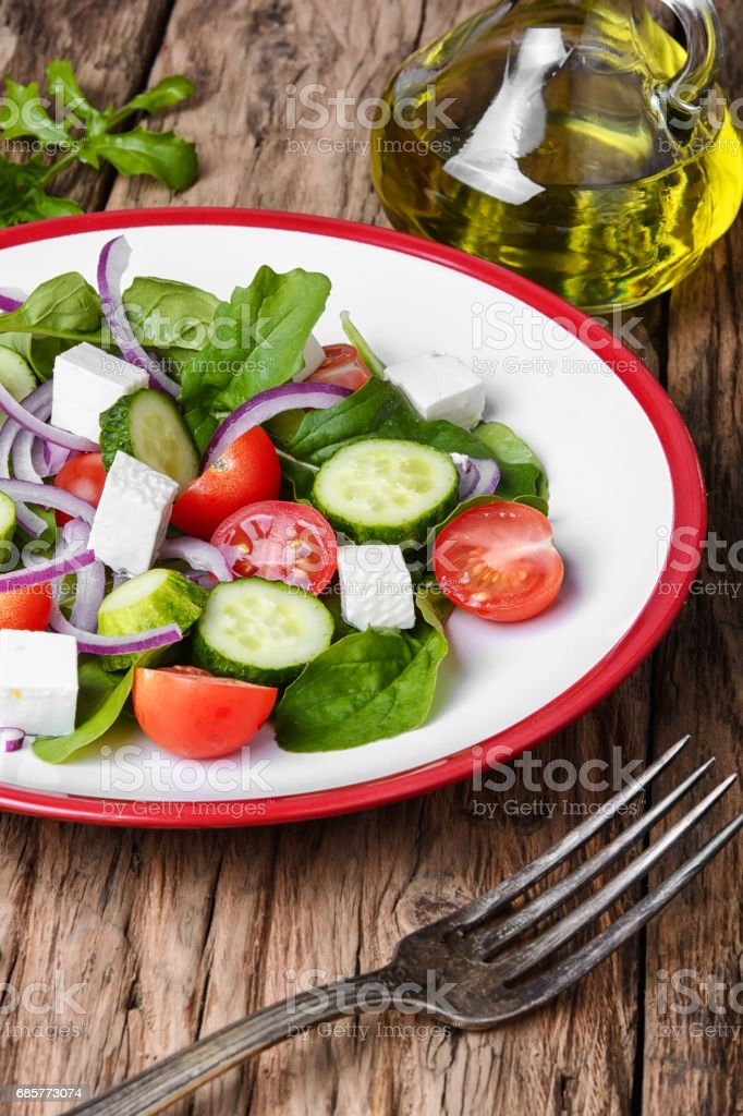 vegetable salad and olive oil photo libre de droits