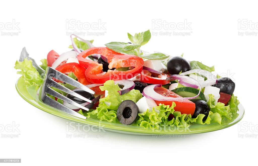 Vegetable salad isolated on white royalty-free stock photo