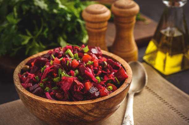 Vegetable salad with beetroot, carrot, pea and onion. Russian style cuisine. stock photo