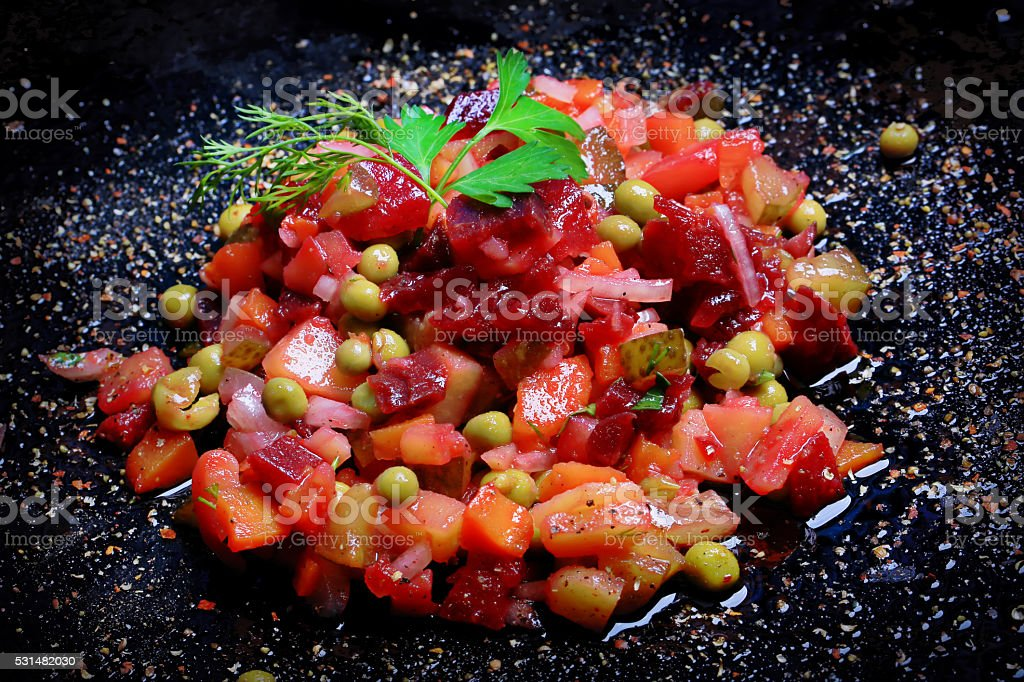 vegetable salad with beetroot vinaigrette Russian kitchen rustic stock photo