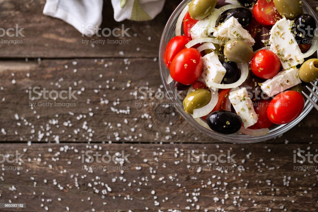 vegetable salad with feta cheese top view royalty-free stock photo
