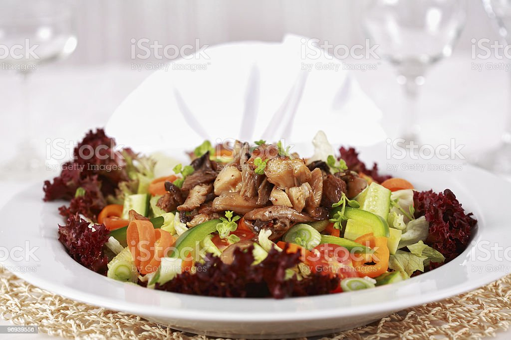 Vegetable salad with oyster mushroom royalty-free stock photo