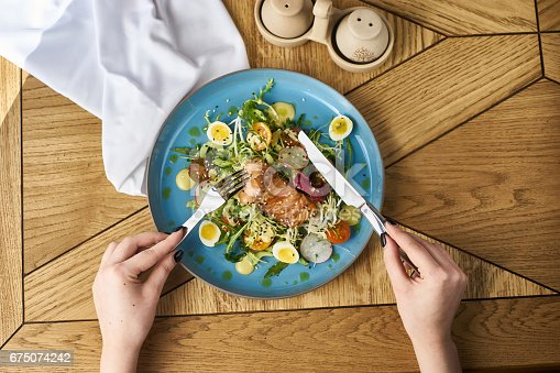 istock Vegetable salad with salmon 675074242