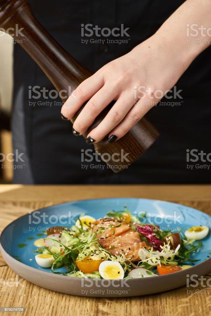 Vegetable salad with salmon stock photo