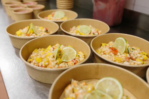 Vegetable salads ready to take away stock photo