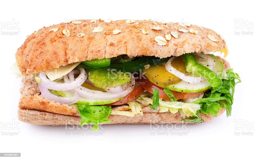 Vegetable Sandwich on White royalty-free stock photo