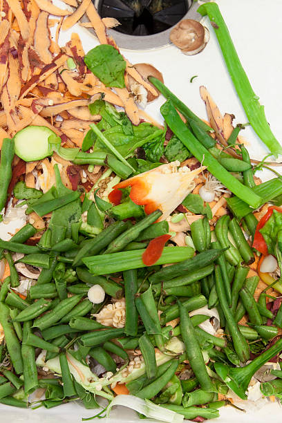 Vegetable Scraps in Kitchen Sink stock photo