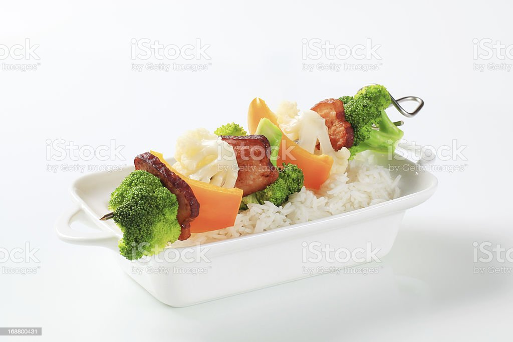 Vegetable skewer and white rice royalty-free stock photo