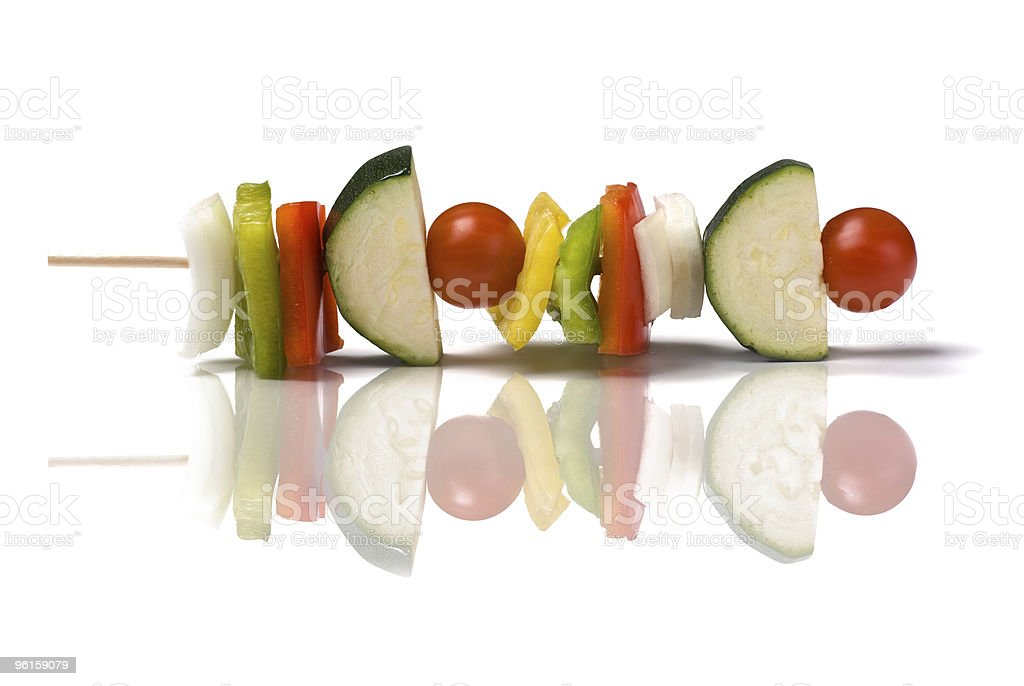 vegetable skewer Isolated royalty-free stock photo