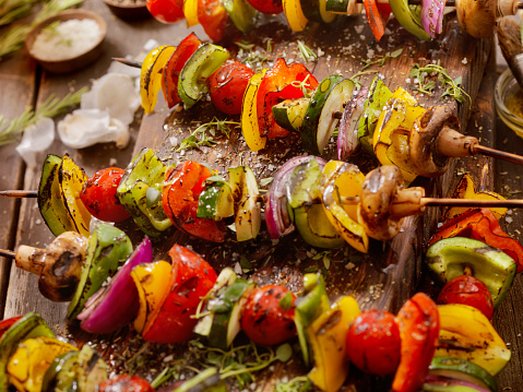 BBQ Vegetable Skewers-Photographed on a Hasselblad H3D11-39 megapixel Camera System