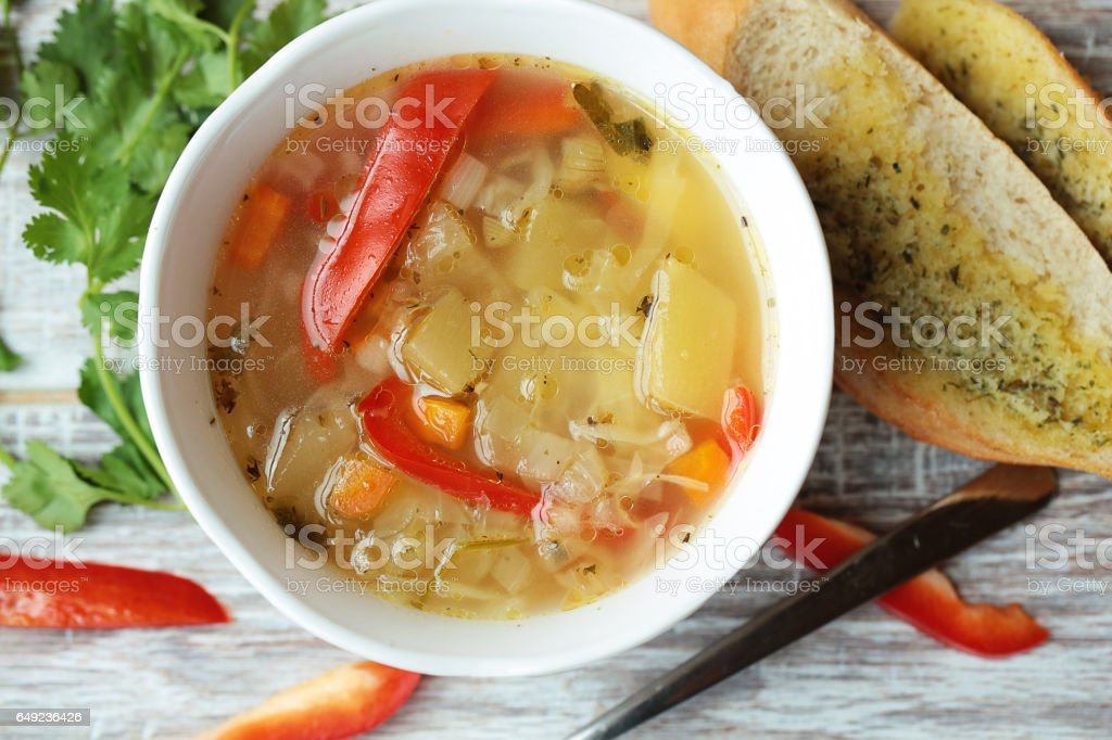 Vegetable soup. Food. stock photo