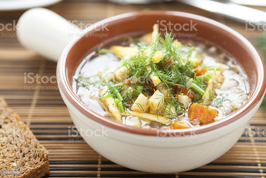 Vegetable soup in a beautiful tureen royalty-free stock photo