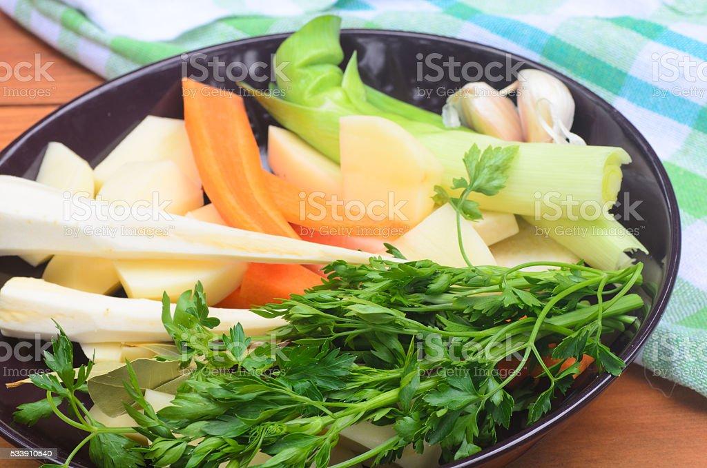 vegetable soup ingredients stock photo