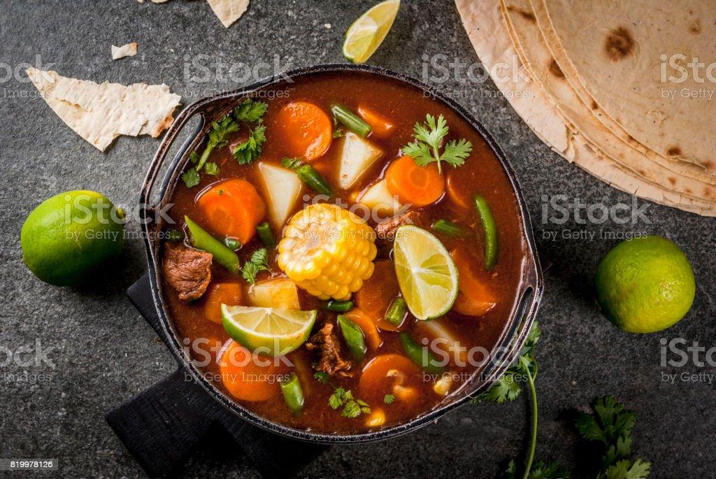 Vegetable soup Mole de olla stock photo