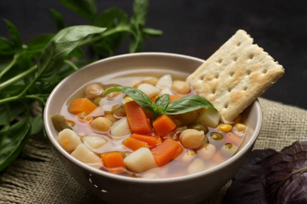 Vegetable Soup Bowl of vegetable soup ready to eat vegetable soup stock pictures, royalty-free photos & images