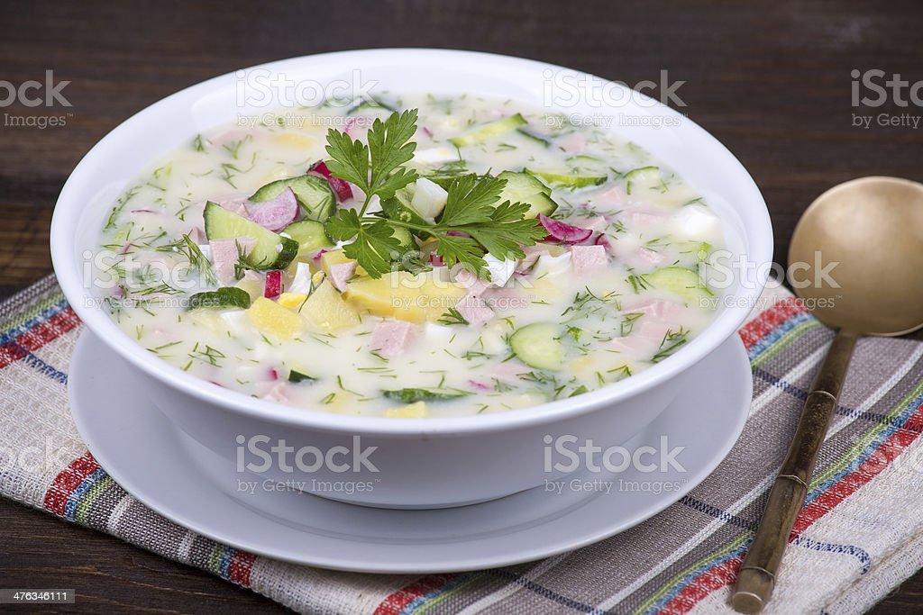 Vegetable soup ( okroshka ) royalty-free stock photo