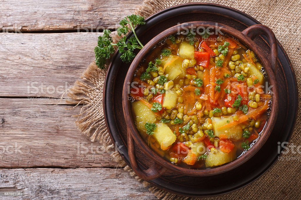 Vegetable soup with mungbeen top view horizontal stock photo