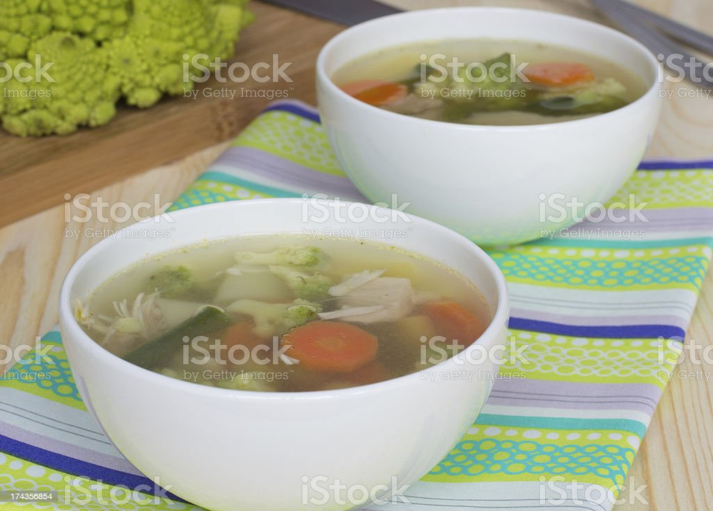 Vegetable soup with romanesco cabbage royalty-free stock photo