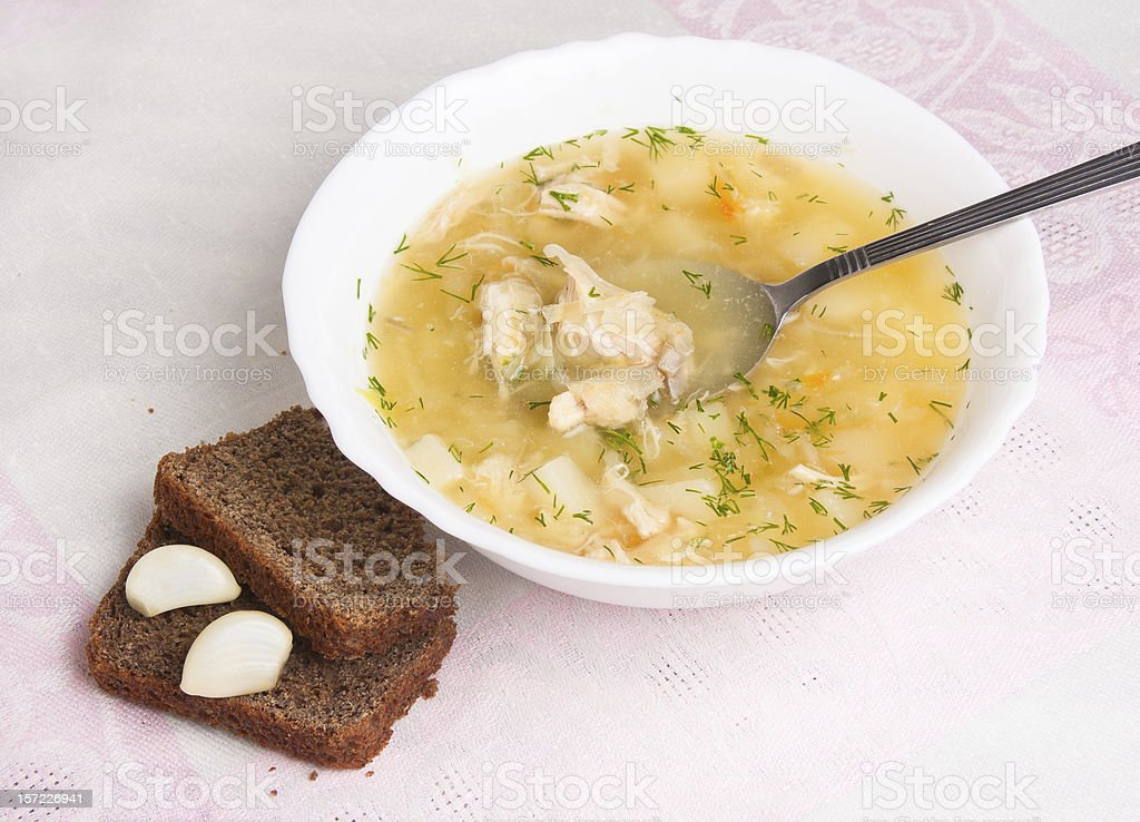 vegetable soup with sauerkraut , chicken royalty-free stock photo