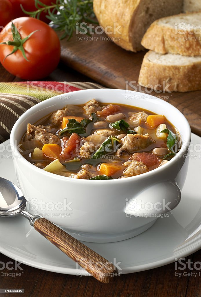 Vegetable soup with sausage stock photo