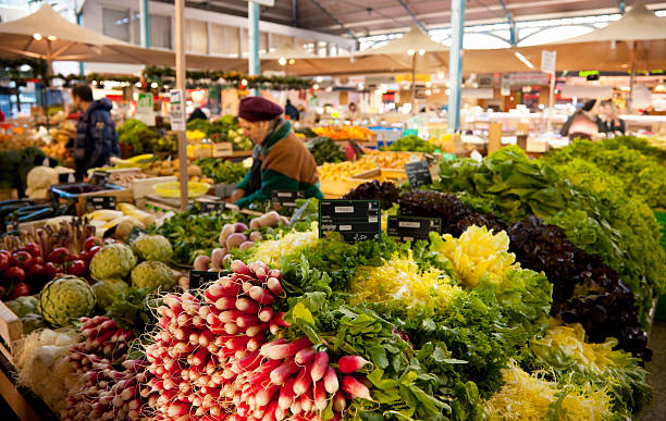 Vegetable stand at Les Halles farmer's market in Dijon, France stock photo