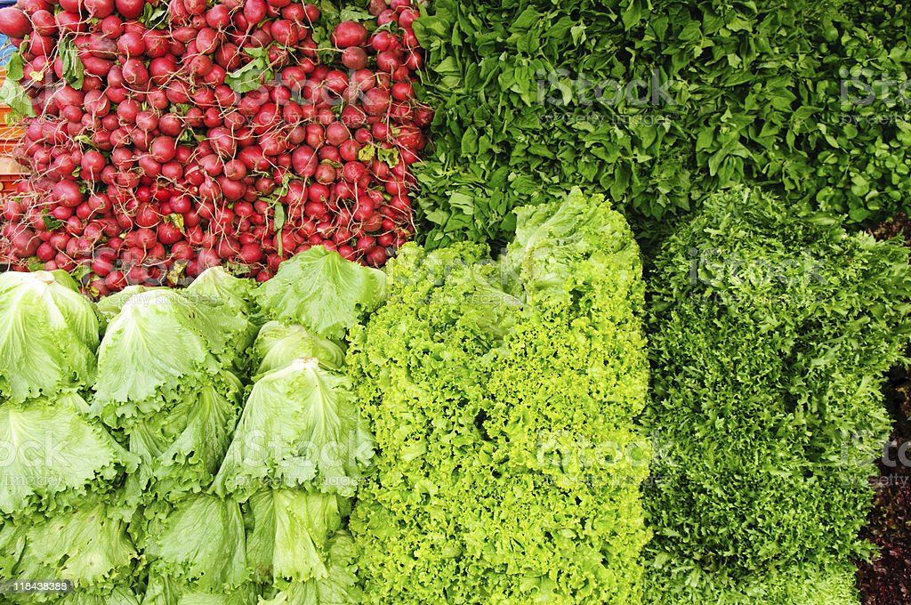 Vegetable stand at open market stock photo