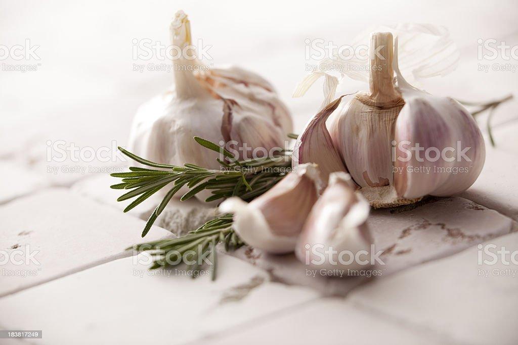 Vegetable Stills: Garlic and Rosemary royalty-free stock photo
