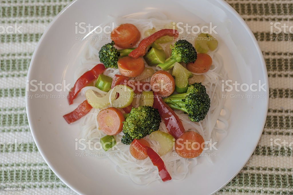 Vegetable Stir Fry on Rice Noodles stock photo