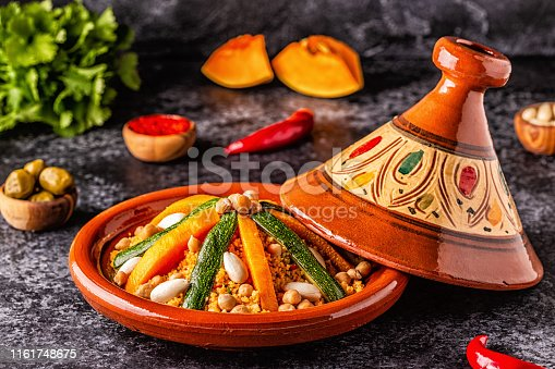 istock Vegetable tagine with almond and chickpea couscous 1161748675