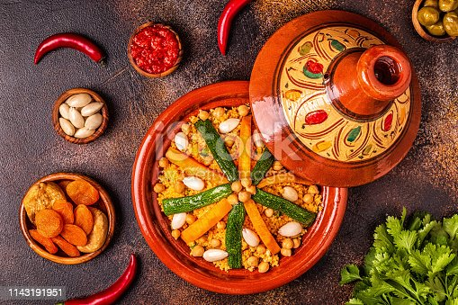 istock Vegetable tagine with almond and chickpea couscousm 1143191951