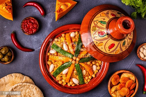 istock Vegetable tagine with almond and chickpea couscousm 1161748662