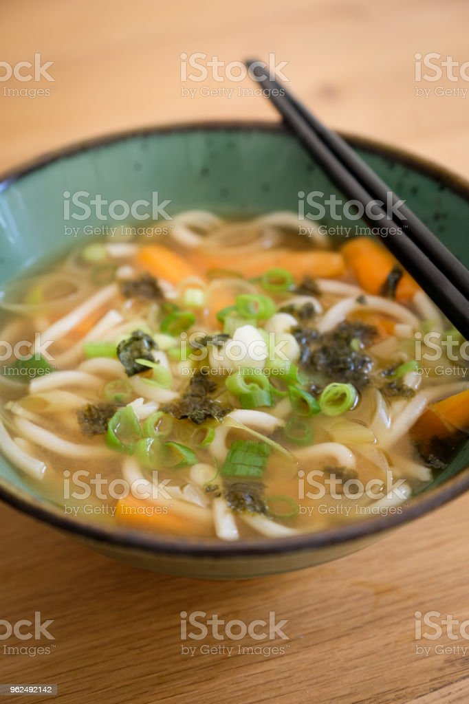Vegetable udon noodles miso soup for lunch, one of the 5 day veggie meal for the National Vegetarian Week, England - Royalty-free Asparagus Stock Photo