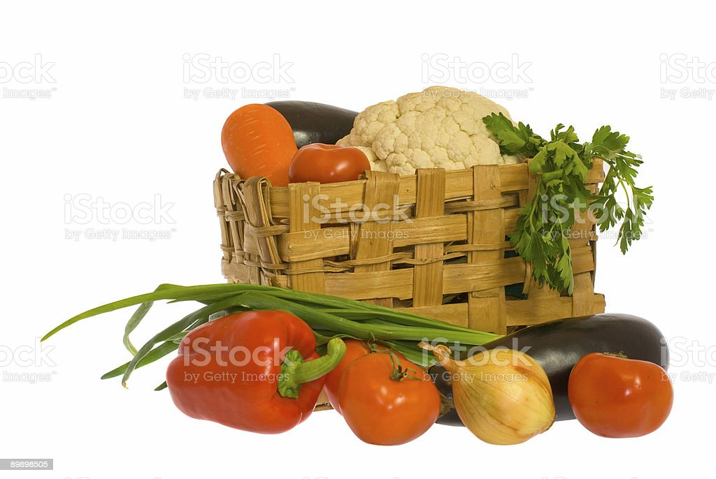 Vegetables and basket royalty-free stock photo