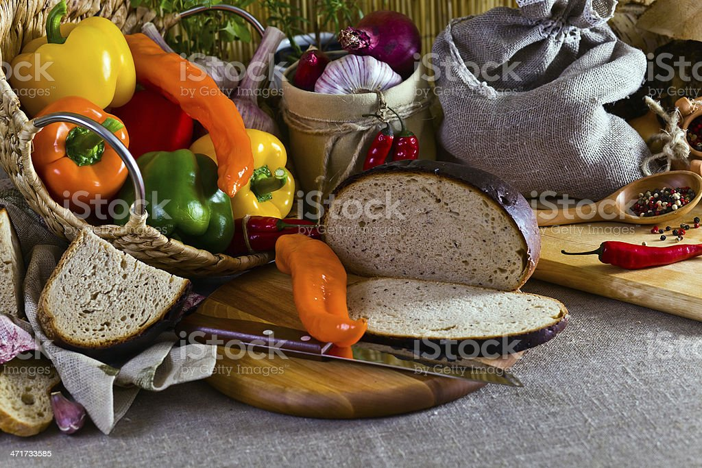 vegetables and bread royalty-free stock photo